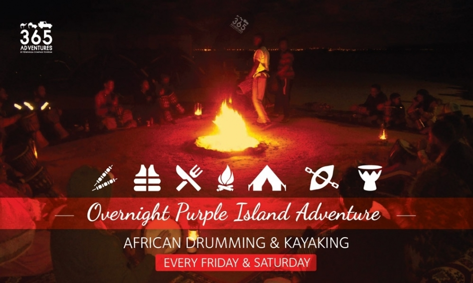 Overnight Purple Island Adventure - African Drumming & Kayaking